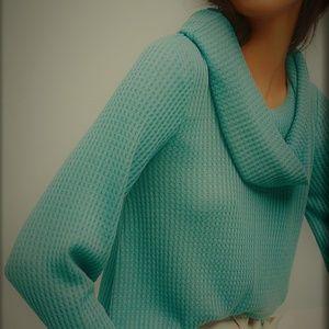 ANTHRO Meadow Rue WaffleThermal cowl tunic Sweater